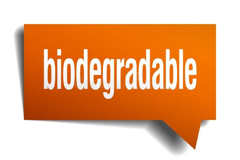 Biologisch afbreekbare oranje 3d toespraakbel vector illustratie