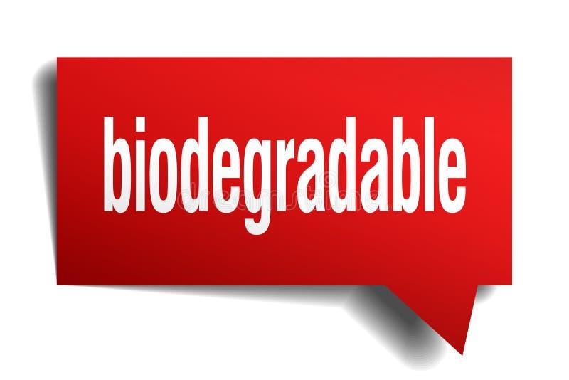 Biologisch afbreekbare rode 3d toespraakbel stock illustratie