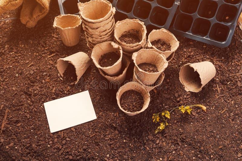 Biologisch afbreekbare van het turfpotten en adreskaartje spot omhoog stock afbeelding