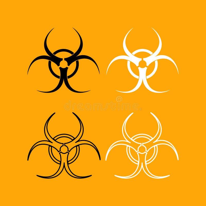 Biologisch gevaars vastgesteld zwart-wit pictogram royalty-vrije illustratie