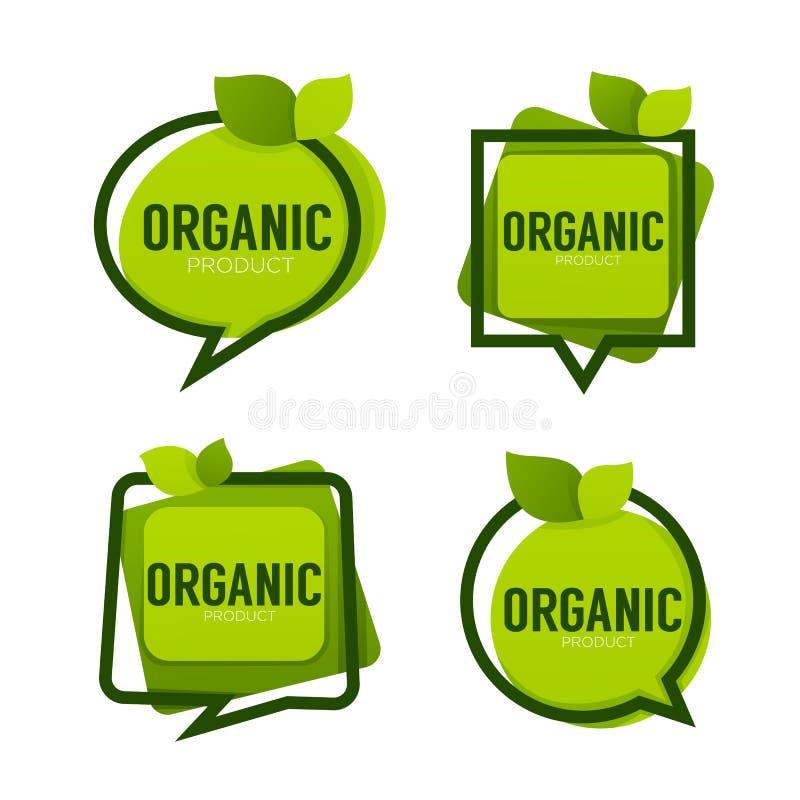 Biologisch product, de groene kaders van het bladerenembleem, vectorinzameling van royalty-vrije illustratie