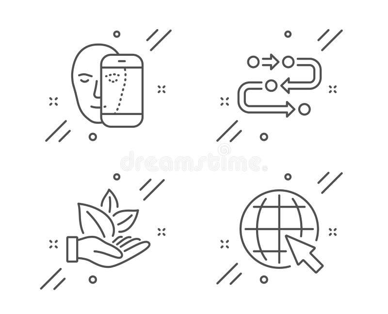 Biologisch product, Gezichtsbiometrie en geplaatst Methodologiepictogrammen Internet-teken Vector vector illustratie
