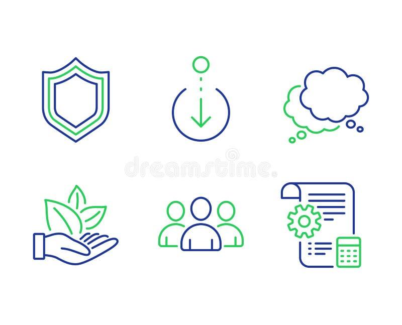 Biologisch product, Groep en Rol onderaan geplaatste pictogrammen Veiligheid, Toespraakbel en de tekens van de Montagesblauwdruk  vector illustratie