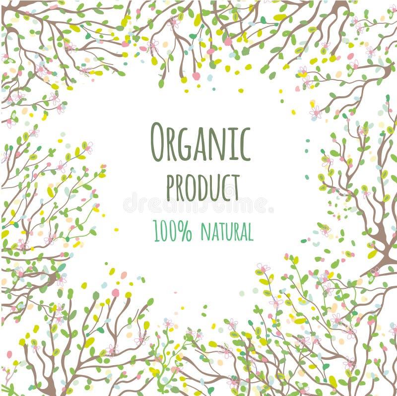 Biologisch productachtergrond met bladeren en bloemen, vectorillustratie vector illustratie
