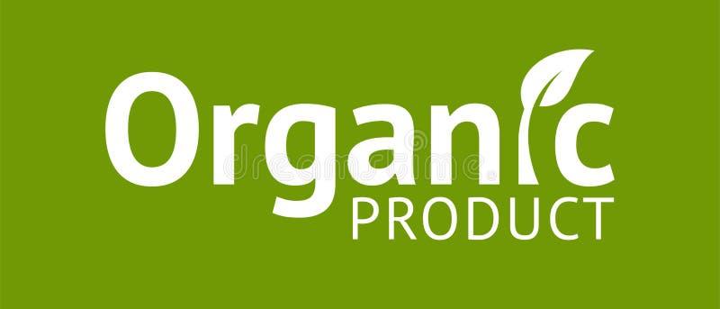 Biologisch productembleem met blad royalty-vrije illustratie