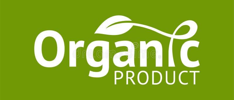 Biologisch productembleem met blad vector illustratie