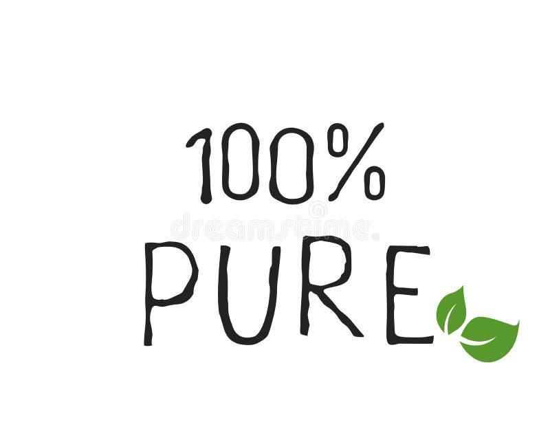 Biologisch productetiket en hoog - de kentekens van het kwaliteitsproduct Het bio Zuivere gezonde Eco-pictogram van het voedsel o stock illustratie