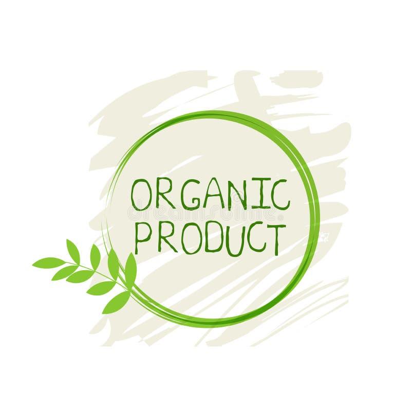 Biologisch productetiket en hoog - de kentekens van het kwaliteitsproduct Het bio Zuivere gezonde Eco-pictogram van het voedsel o royalty-vrije illustratie