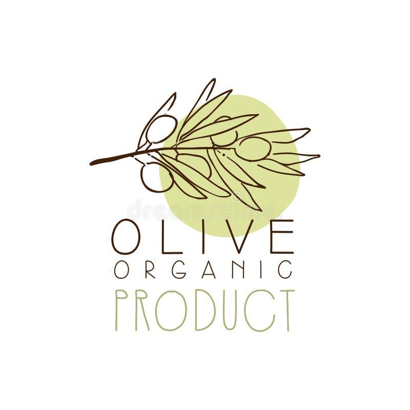 Biologisch productetiket met Olive Branch Olive Hand Drawn en Bladeren royalty-vrije illustratie