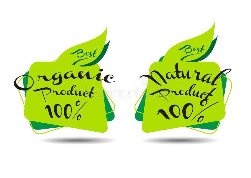 Biologisch producttekens stock illustratie