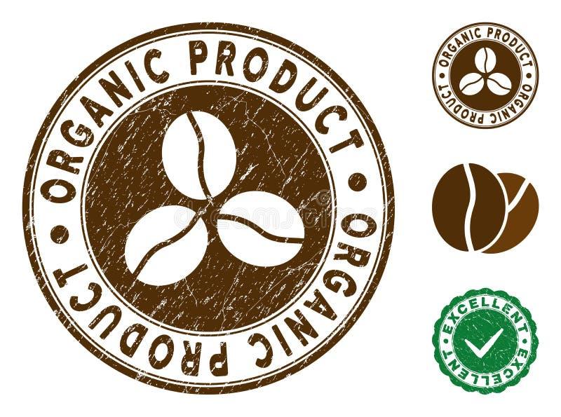 Biologisch productzegel met Grungy Effect vector illustratie