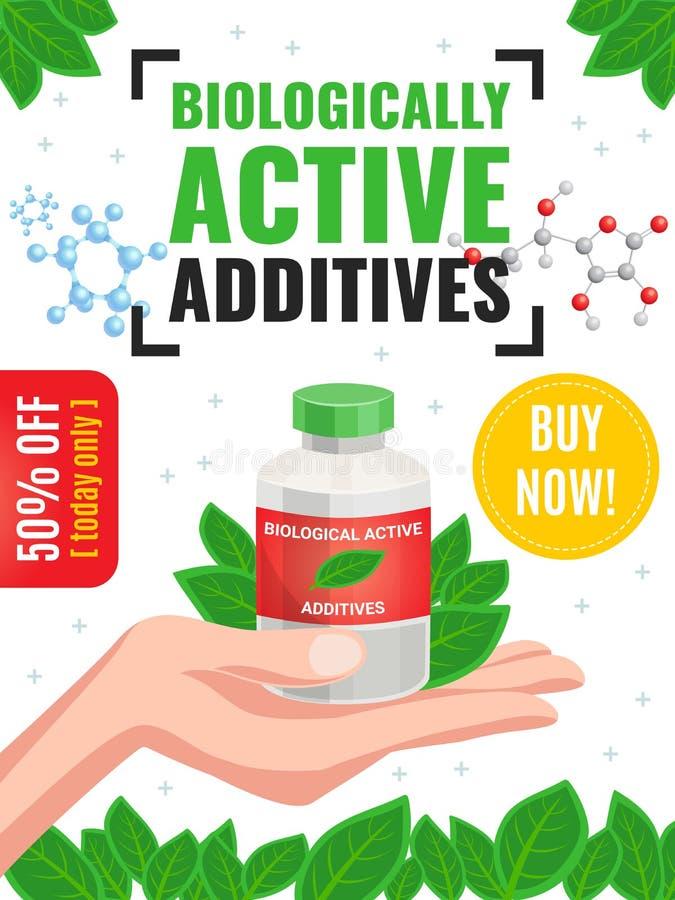 Biologische aktive Zusätze, die Plakat annoncieren stock abbildung