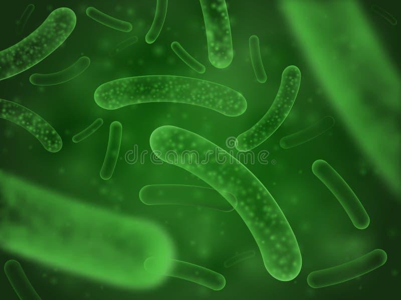 Biologisches Konzept der Bakterien Wissenschaftlicher abstrakter Hintergrund des probiotic Milchsäurebazillusmikrogrüns vektor abbildung