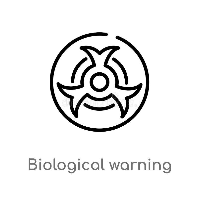 biologisk varnande vektorsymbol för översikt isolerad svart enkel linje beståndsdelillustration från medicinskt begrepp Redigerba stock illustrationer