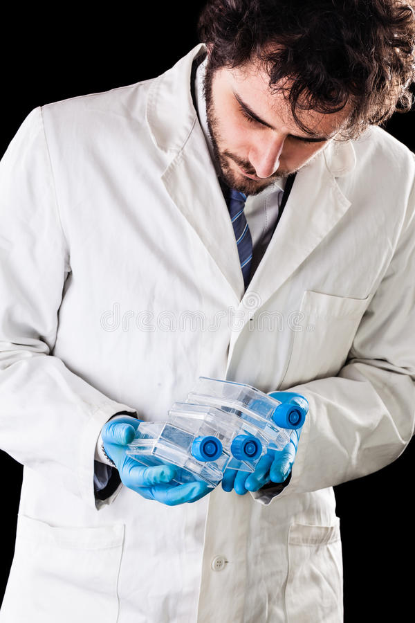 Biologist holding culture flasks royalty free stock photo