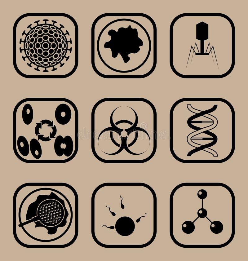 Biologisymbolsuppsättning royaltyfri foto