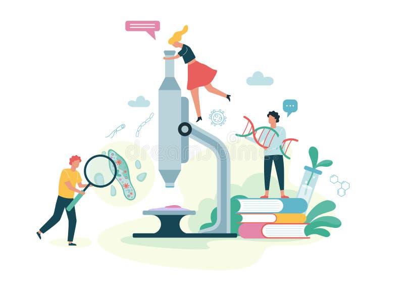 Biologivetenskapsbegrepp Folk med ett mikroskop vektor illustrationer