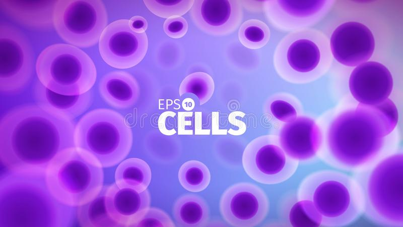 Biology background. Abstract vector cells illustration. Microscope view. Horizontal banner stock illustration