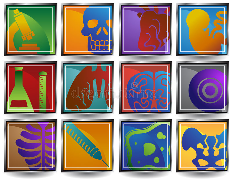 Download Biology Buttons Set - Square Stock Vector - Image: 9292689