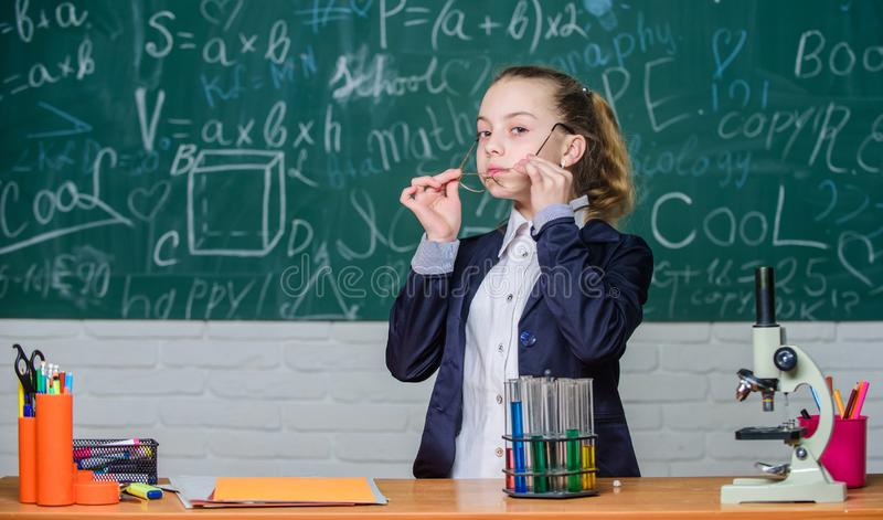 Biology and chemistry lessons. School classes. Observe chemical reactions. Chemical reaction much more exciting than. Theory. Girl working chemical experiment stock images