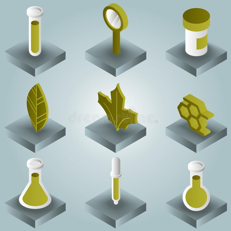 Biology color gradient isometric icons royalty free illustration