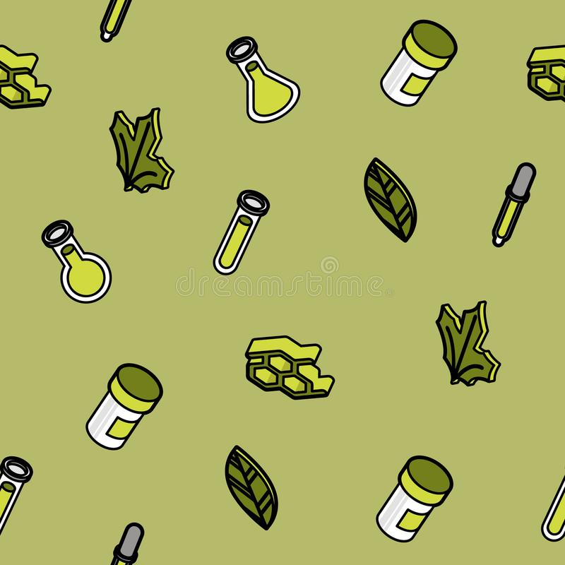Biology color outline isometric pattern royalty free illustration