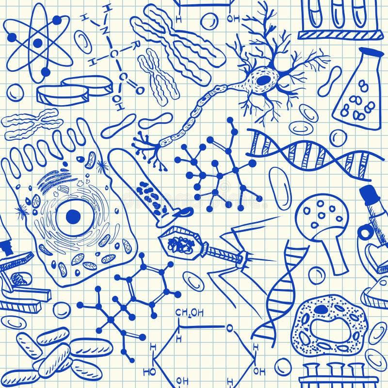 Biology doodles seamless pattern. Biology doodles on school squared paper, seamless pattern stock illustration