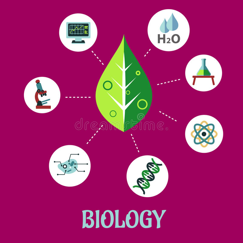 Biology flat concept design. With a fresh green leaf surrounded by round icons depicting insects, microscope, computer, water, chemical analysis, atoms for vector illustration