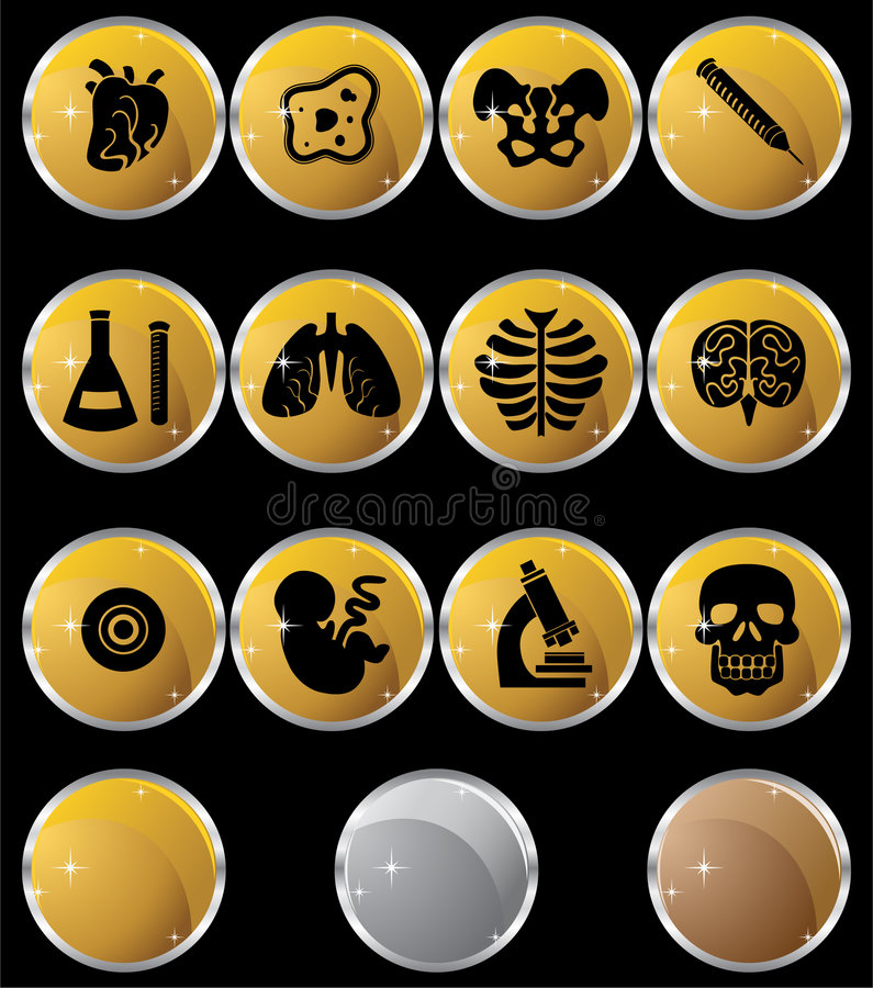 Biology Icon Set - Gold Buttons