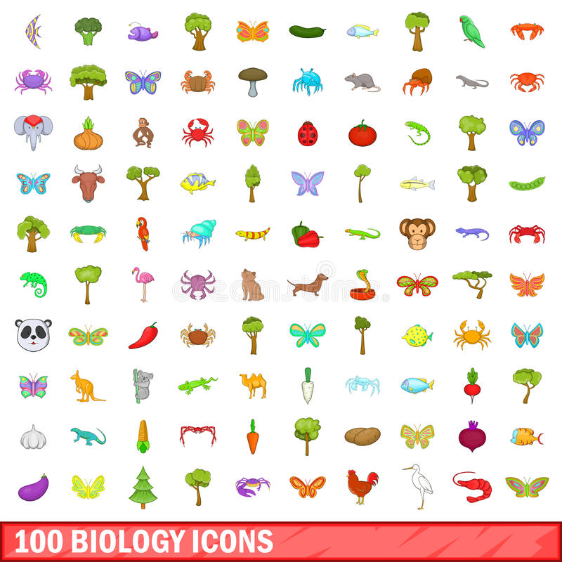 100 biology icons set, cartoon style vector illustration