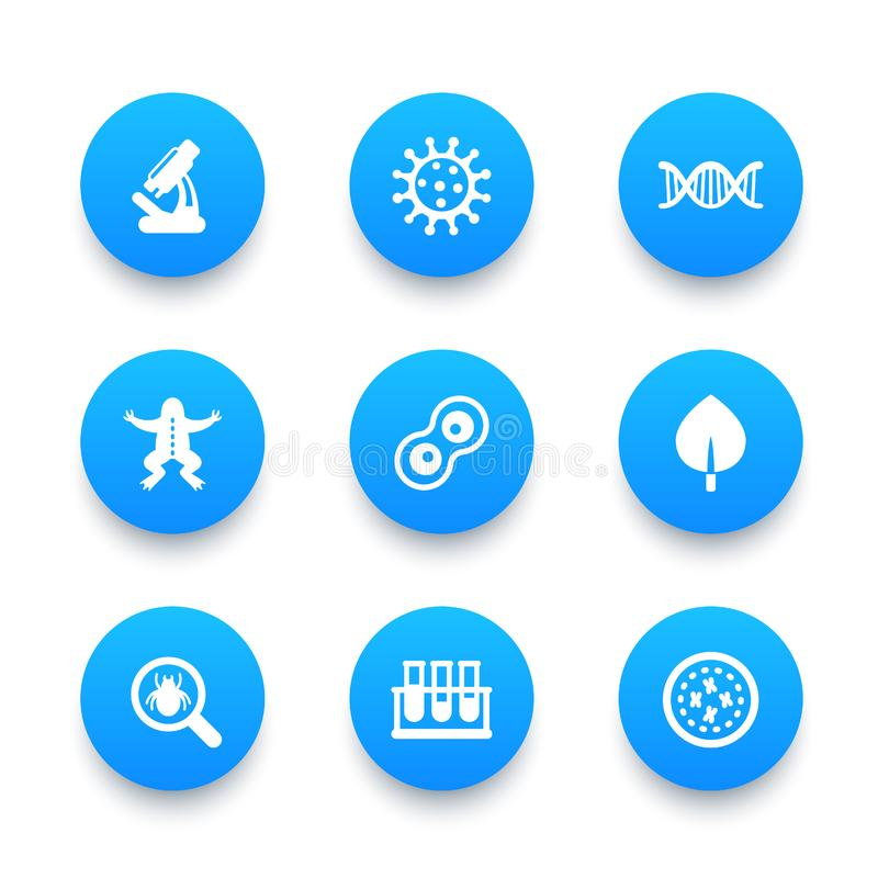 Biology icons set vector illustration