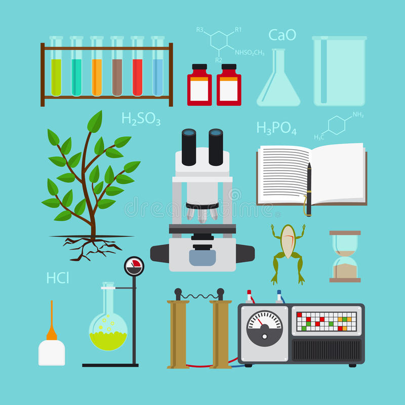 biology laboratory icons stock vector illustration of