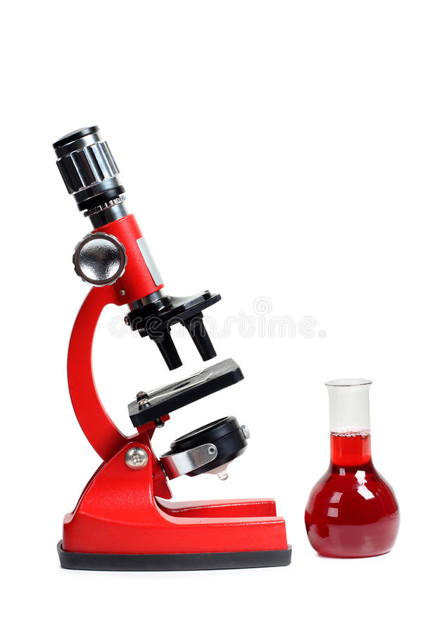 Biology microscope six. Microscope for biology and flasks on white background stock images