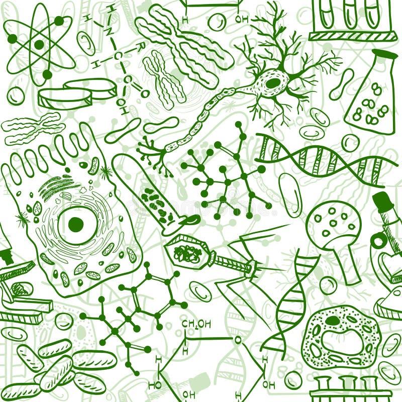 Biology seamless pattern. Seamless pattern background - illustration of biology drawings, doodle style royalty free illustration