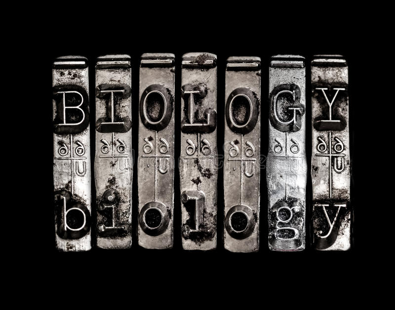Biology word stock photography