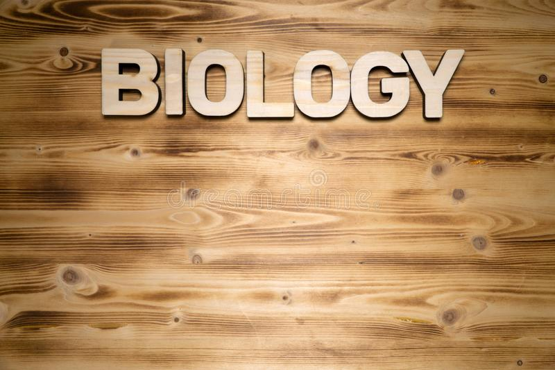 BIOLOGY word made of wooden block letters on wooden board. royalty free stock images