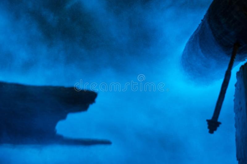 Bioluminescent plankton in the sea, long exposure shot. Bioluminescent plankton in the sea, Close-up and long exposure shot royalty free stock images