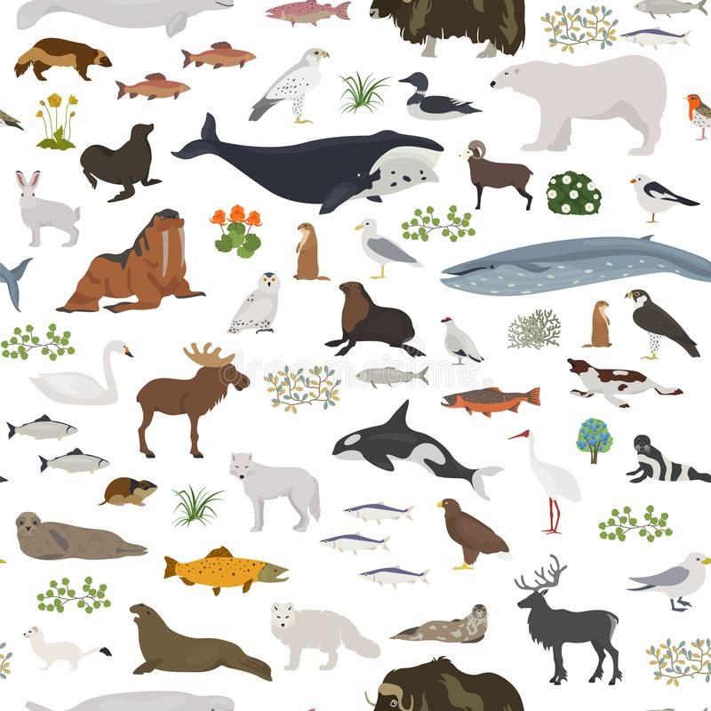 Bioma della tundra Mappa di mondo terrestre di ecosistema Progettazione senza cuciture artica del modello degli animali, degli uc royalty illustrazione gratis