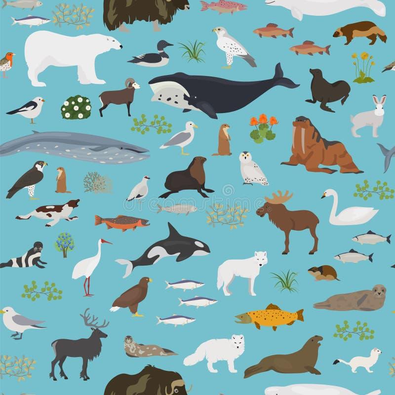 Bioma della tundra Mappa di mondo terrestre di ecosistema Progettazione senza cuciture artica del modello degli animali, degli uc illustrazione vettoriale