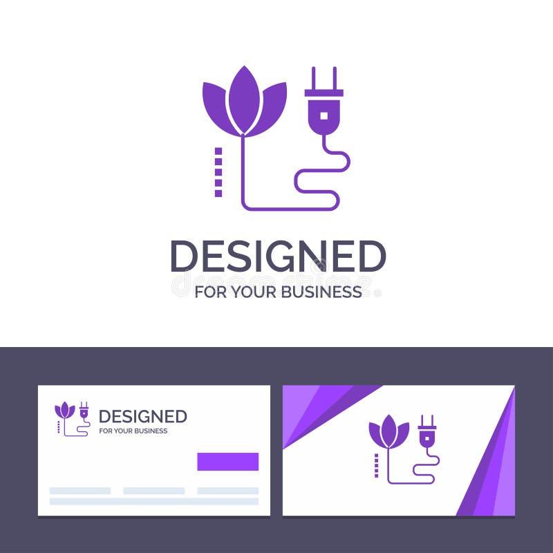 Biomasa de visita de la plantilla creativa de la tarjeta y del logotipo, energía, cable, ejemplo del vector del enchufe stock de ilustración