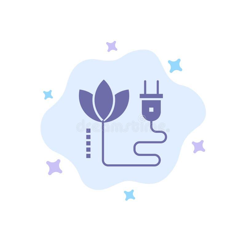 Biomasa, energía, cable, icono azul del enchufe en fondo abstracto de la nube ilustración del vector