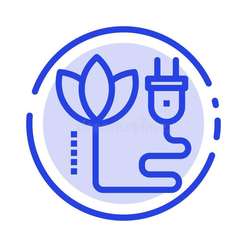 Biomasa, energía, cable, línea de puntos azul línea icono del enchufe stock de ilustración