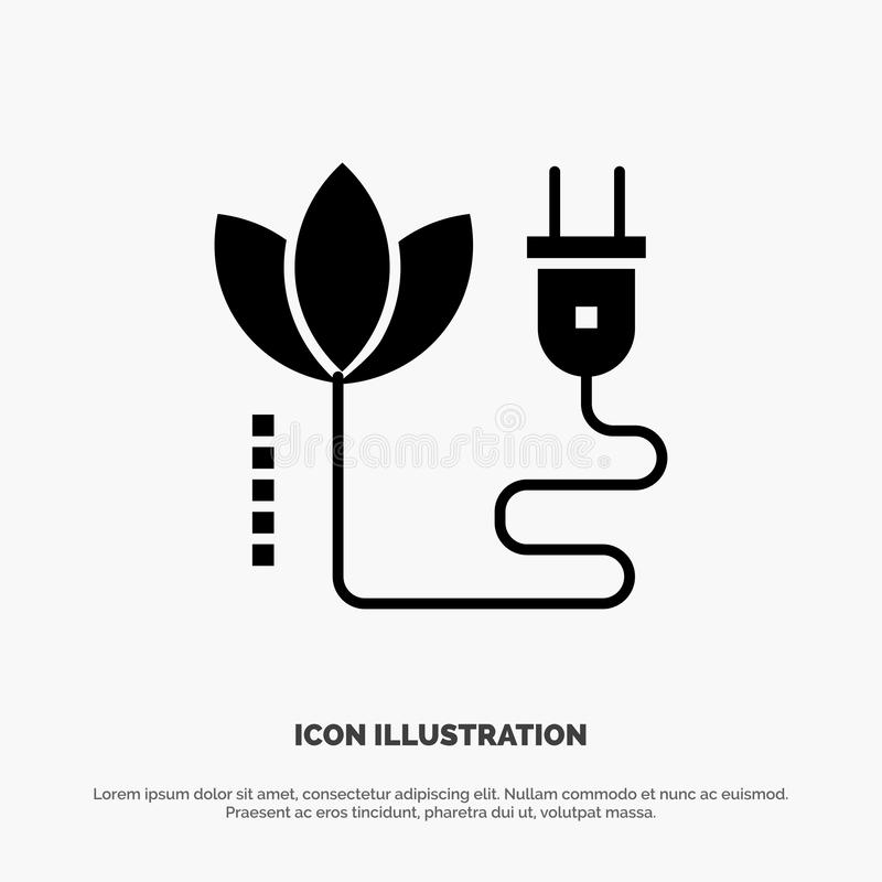 Biomasa, energía, cable, vector sólido del icono del Glyph del enchufe libre illustration