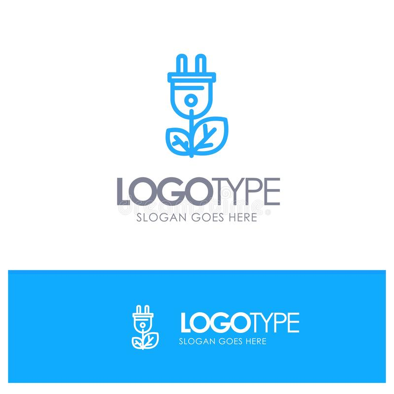 Biomasa, energía, enchufe, esquema azul Logo Place del poder para el Tagline libre illustration