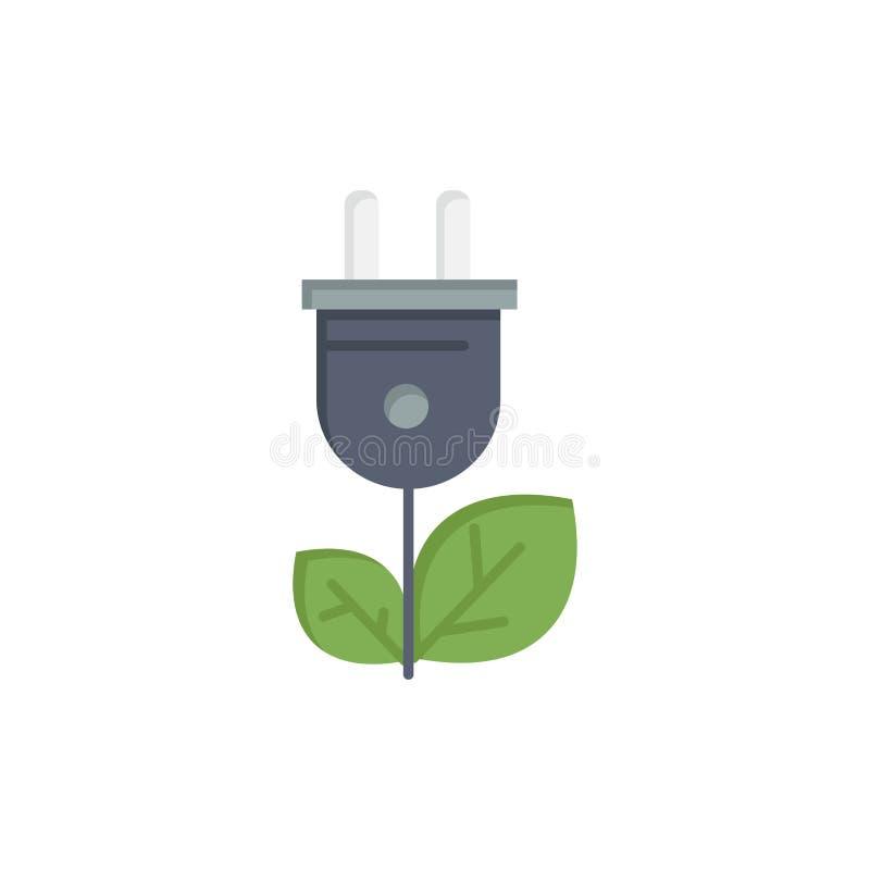 Biomasa, energía, enchufe, icono plano del color del poder Plantilla de la bandera del icono del vector stock de ilustración
