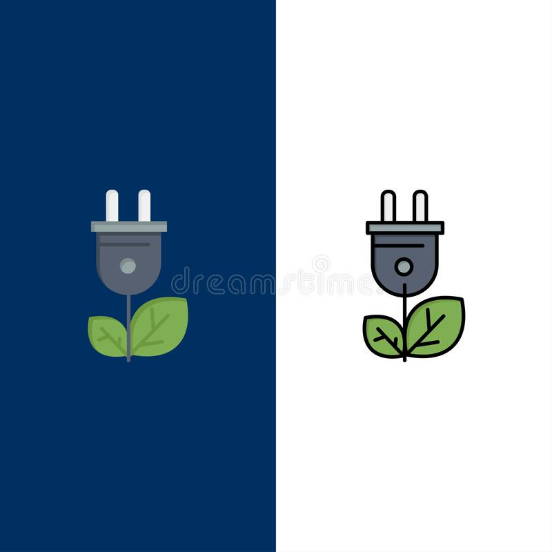 Biomasa, energía, enchufe, iconos del poder El plano y la línea icono llenado fijaron el fondo azul del vector ilustración del vector