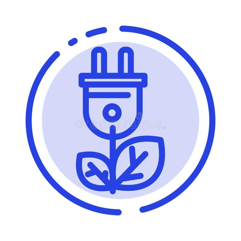 Biomasa, energía, enchufe, línea de puntos azul línea icono del poder libre illustration