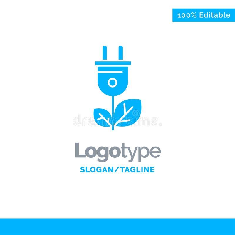 Biomasa, energía, enchufe, poder Logo Template sólido azul Lugar para el Tagline stock de ilustración