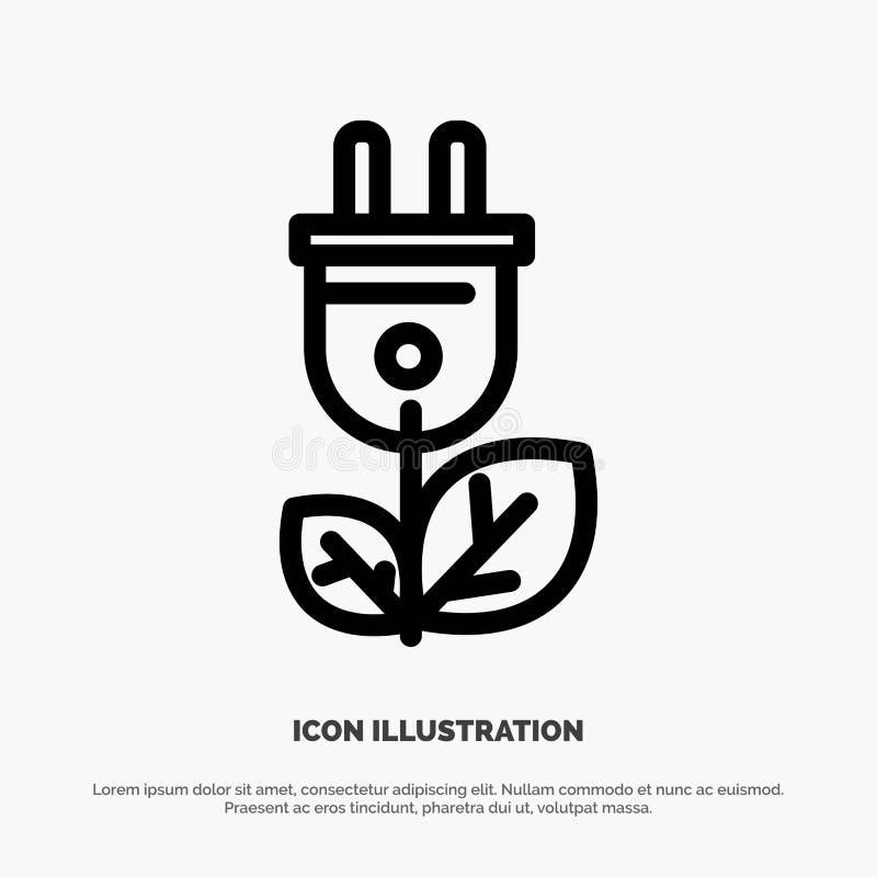 Biomasa, energía, enchufe, vector del icono de la línea eléctrica ilustración del vector