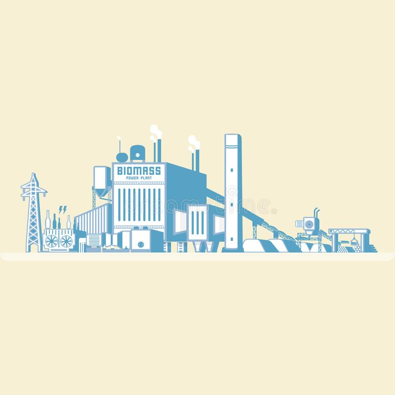 Biomass energia, biomass elektrownia royalty ilustracja